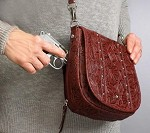 Gun Tote'n Mamas GTM-16TLD/BK-CHRY Chrome Bling Handbag Black Cherry